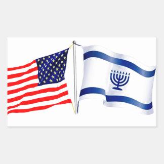 イスラエルの米国旗のコレクション 長方形シール