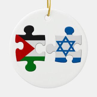 イスラエル共和国およびパレスチナの対立の旗のパズルのオーナメント セラミックオーナメント