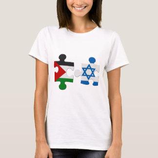 イスラエル共和国およびパレスチナの対立の旗のパズルのTシャツ Tシャツ