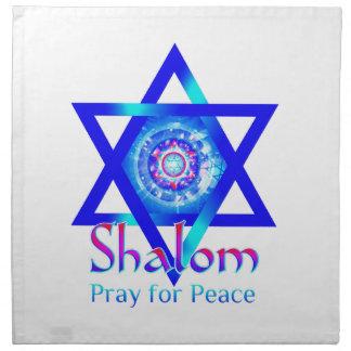 イスラエル共和国の平和のためのDavid_PrayのSHALOMの星 ナプキンクロス