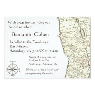 イスラエル共和国の旧式な地図のベンジャーミンのバーの(ユダヤ教の)バル・ミツバーの招待状 カード