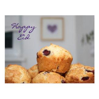 イスラム教の幸せなEidのkareemの菓子のマフィンのカップケーキ ポストカード