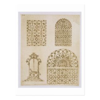 イスラム教のironworkは窓そして井戸のために、のために焼きます ポストカード