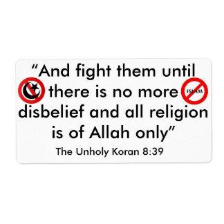イスラム教へそれを付けること ラベル