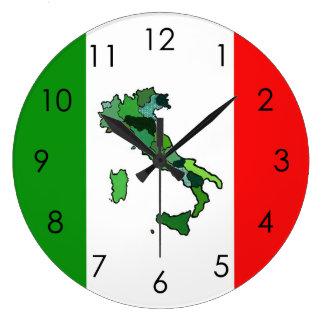 イタリアおよびイタリアンな旗の地図 ラージ壁時計