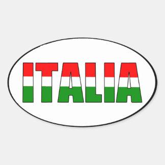 イタリアのイタリアの旗 楕円形シール