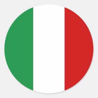 イタリアのイタリア語il Tricoloreのステッカーの旗に点を打って下さい ラウンドシール