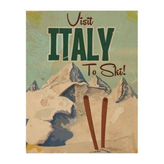 イタリアのスキーヴィンテージ旅行ポスター ウッドウォールアート