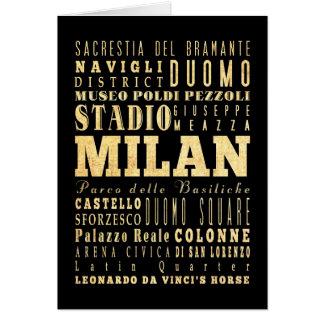 イタリアのタイポグラフィの芸術のミラノ都市 カード