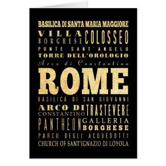 イタリアのタイポグラフィの芸術のローマ都市 カード