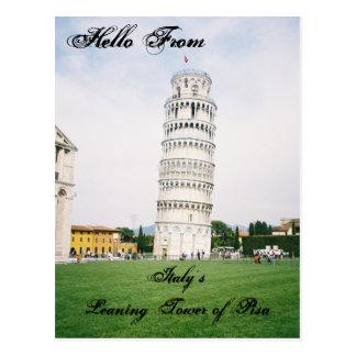 イタリアのピサの郵便はがきの斜塔 ポストカード