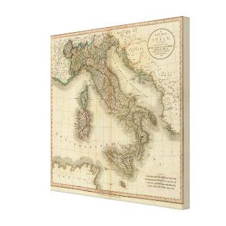 イタリアの地図書の地図 キャンバスプリント