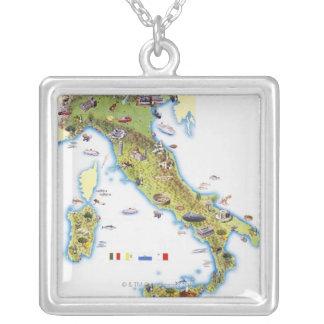 イタリアの地図 シルバープレートネックレス