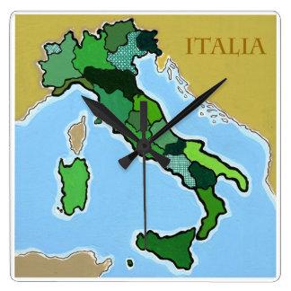 イタリアの地図 スクエア壁時計