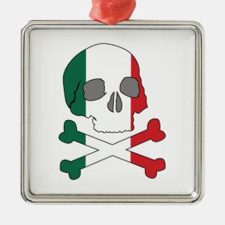 イタリアの旗のスカル メタルオーナメント