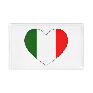 イタリアの旗のハート アクリルトレー