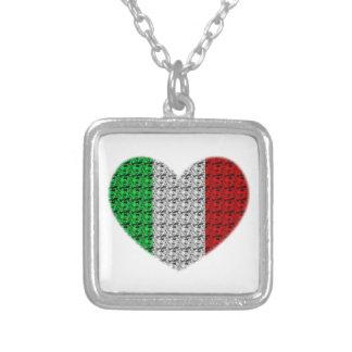 イタリアの旗のハート シルバープレートネックレス