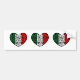 イタリアの旗のハート バンパーステッカー