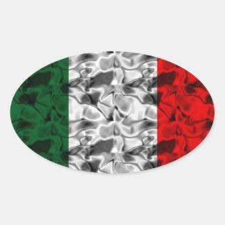 イタリアの旗のハート 楕円形シール