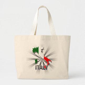 イタリアの旗の地図2.0 ラージトートバッグ