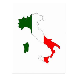 イタリアの旗の地図 ポストカード