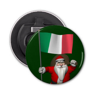イタリアの旗を持つサンタクロース 栓抜き