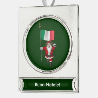 イタリアの旗を持つ甘いサンタクロース シルバープレートバナーオーナメント