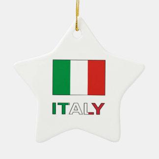イタリアの旗及び単語 セラミックオーナメント