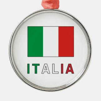 イタリアの旗及び単語 メタルオーナメント