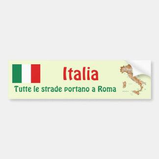 イタリアの旗 + 地図のバンパーステッカー バンパーステッカー