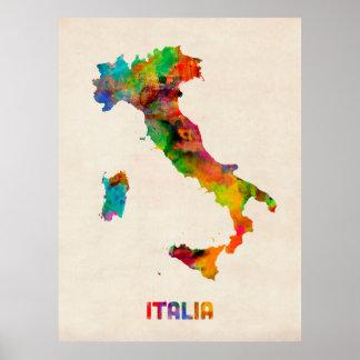 イタリアの水彩画の地図、イタリア ポスター