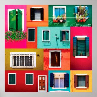 イタリアの窓のコレクションのBuranoのカラフルな島 ポスター