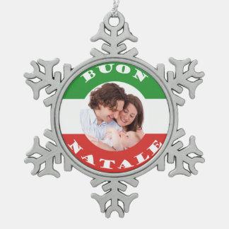 イタリアアメリカの家族写真のクリスマスのオーナメント スノーフレークピューターオーナメント