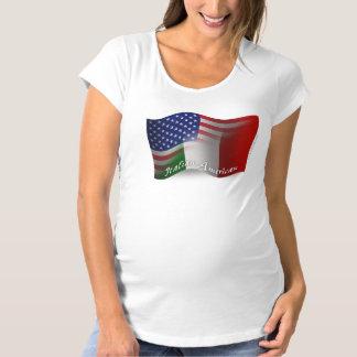 イタリアアメリカの振る旗 マタニティTシャツ
