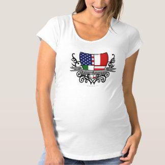 イタリアアメリカの盾の旗 マタニティTシャツ