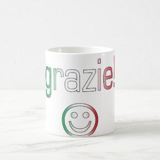 イタリアンなギフト: あなた/Grazieを感謝していして下さい + スマイリーフェイス コーヒーマグカップ