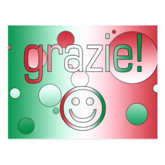 イタリアンなギフト: あなた/Grazieを感謝していして下さい + スマイリーフェイス ポストカード