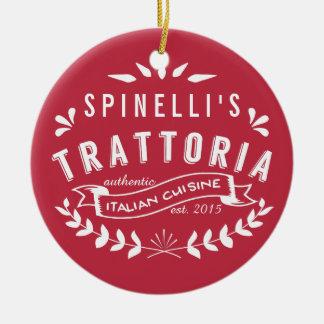 イタリアンなトラットリア|のヴィンテージのレストランのロゴの赤 セラミックオーナメント