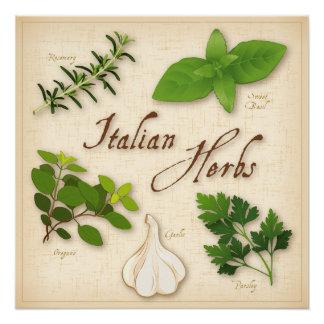イタリアンなハーブ、ベズル、オレガノ、パセリ、ニンニク ポスター