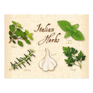 イタリアンなハーブ、ベズル、オレガノ、パセリ、ニンニク ポストカード
