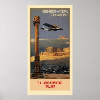 イタリアンなヴィンテージの飛行機旅行広告ブリンディジイスタンブール ポスター