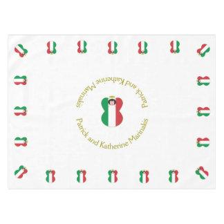 イタリアンな天使の旗の黒髪 テーブルクロス