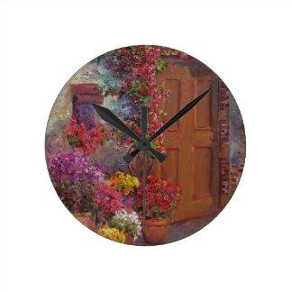 イタリアンな戸口 ラウンド壁時計