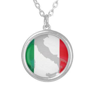 イタリアンな旗およびイタリア シルバープレートネックレス