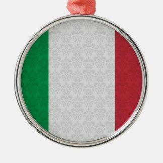 イタリアンな旗のダマスク織パターン メタルオーナメント