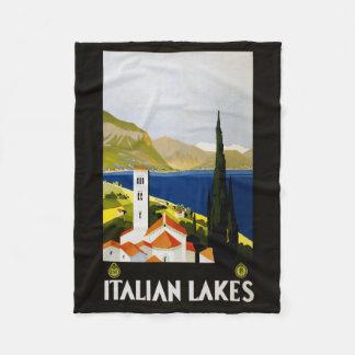 イタリアンな湖のヴィンテージ旅行フリースブランケット フリースブランケット