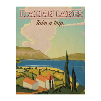 イタリアンな湖のヴィンテージ旅行ポスター ウッドウォールアート