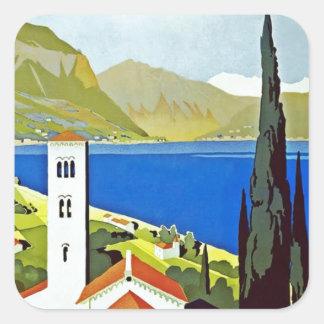 イタリアンな湖地区のヴィンテージ旅行ポスター スクエアシール