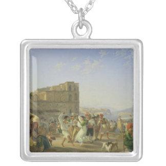 イタリアンな踊り、ナポリ1836年 シルバープレートネックレス