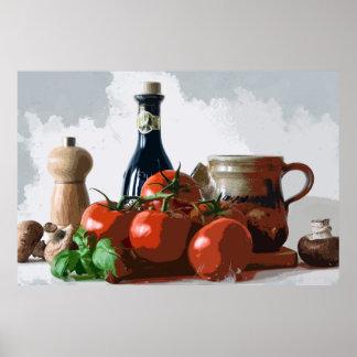 イタリアンな食事の準備の静物画 ポスター